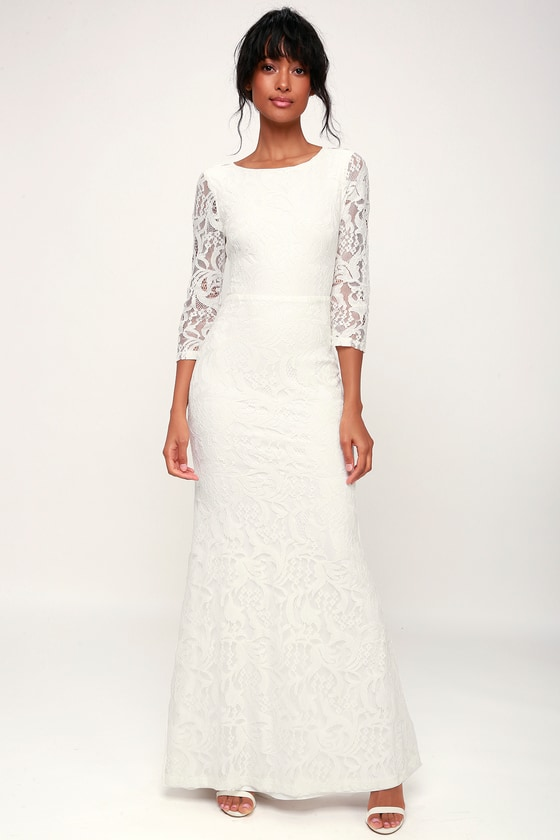 Adley White Lace Three-Quarter Backless Maxi Dress - Lulus