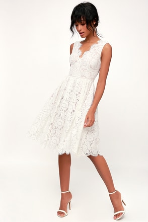 0ce567b70552 Lovely White Dress - White Lace Dress - White Lace Midi Dress