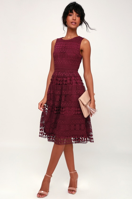 da812d5fd62 Cute Plum Purple Dress - Midi Dress - Lace Dress