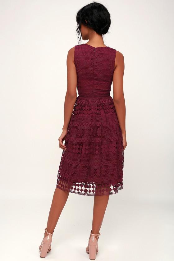 075df351cf Madly in Love Plum Purple Lace Sleeveless Midi Dress