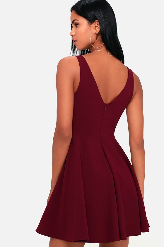 Cute Burgundy Dress - Burgundy Party Dress - Skater Dress e7f92c016b8d