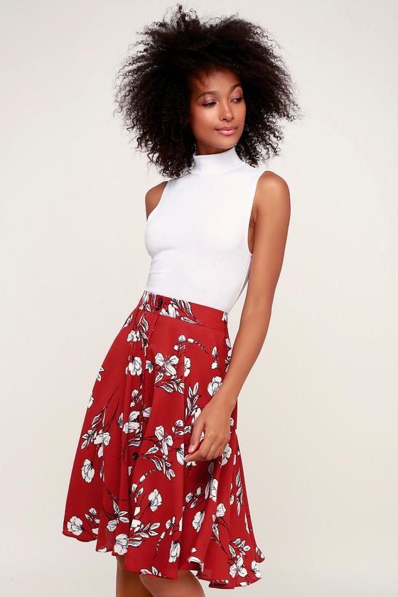 4aaa2571fd Cute Red Skirt - Floral Print Skirt - Midi Skirt - A-Line Skirt