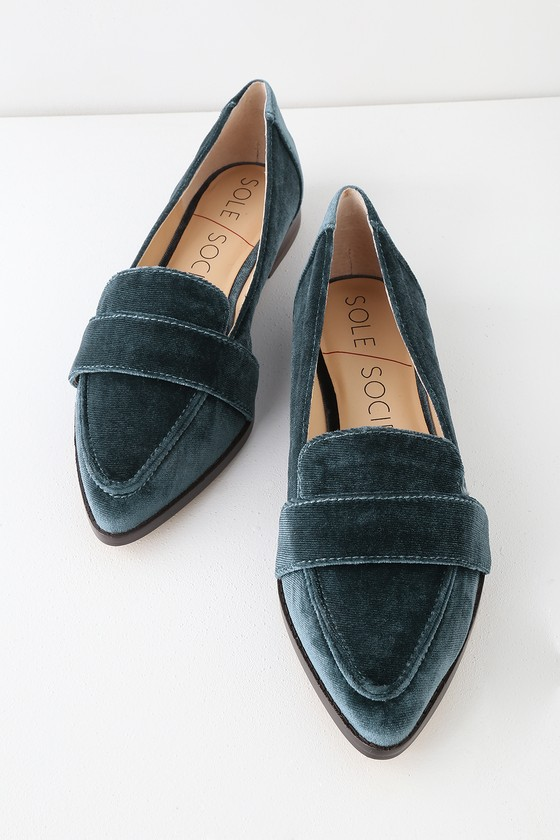 79a0672c809 Sole Society Edie - Cloud Blue Loafers - Velvet Loafers - Flats