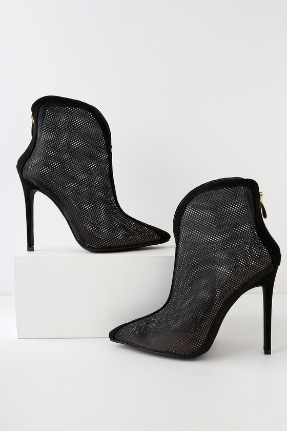 aca6ce5435 Chic Black Boots - Mesh Boots - High Heel Ankle Booties