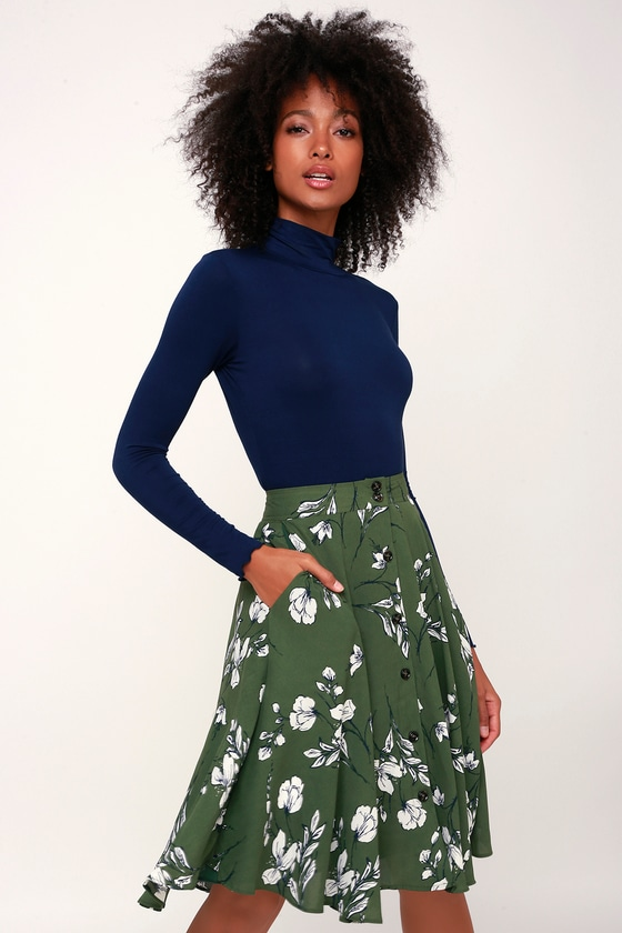 Retro Skirts: Vintage, Pencil, Circle, & Plus Sizes Love Blooms Green Floral Print Midi Skirt - Lulus $47.00 AT vintagedancer.com