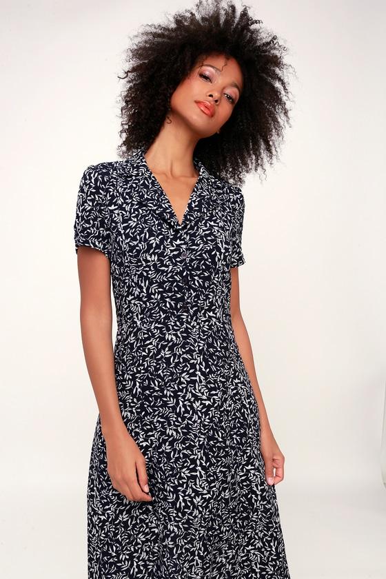 52dc6eefa4e Cute Navy Blue Dress - Leaf Print Dress - Button-Up Midi Dress