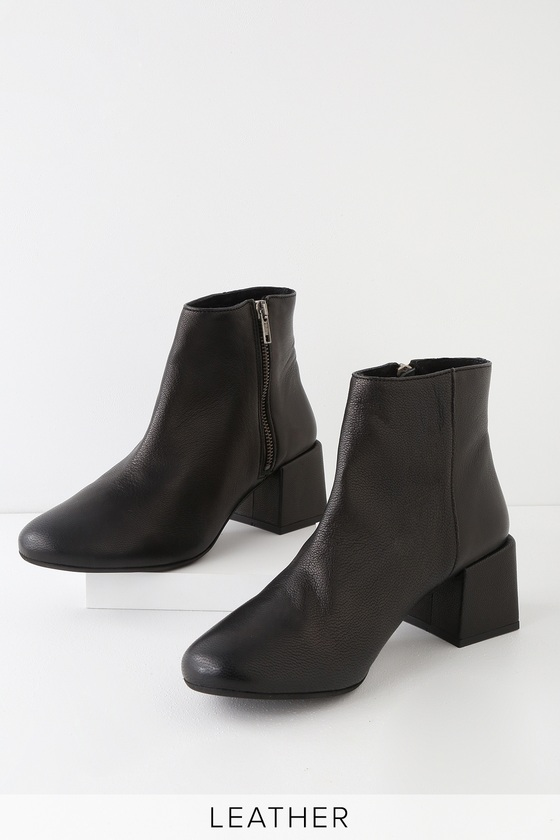 f59a90c73e7f Rebels Jenna - Black Leather Ankle Boots - Block Heel Ankle Boots