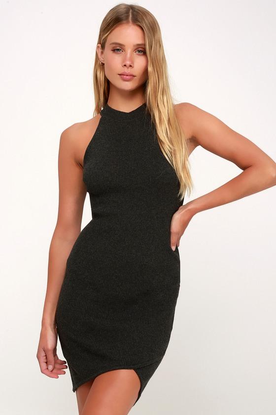 Sexy Grey Dress - Ribbed Knit Bodycon Dress - Halter Dress 44e545d17