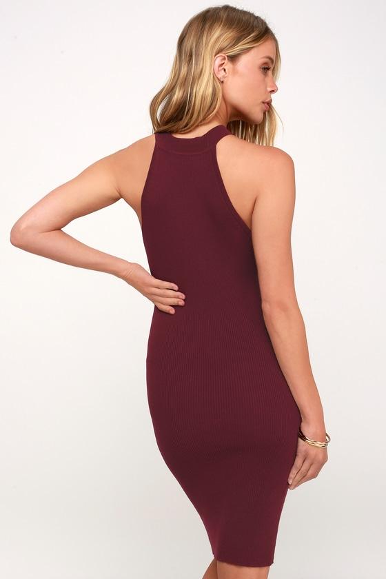 fbca3c143091 Sexy Burgundy Dress - Ribbed Knit Bodycon Dress - Halter Dress