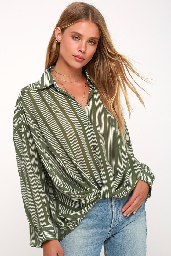 8f6c262e5a02e Cute Green Striped Top - Button-Up Top - Twisted High-Low Top