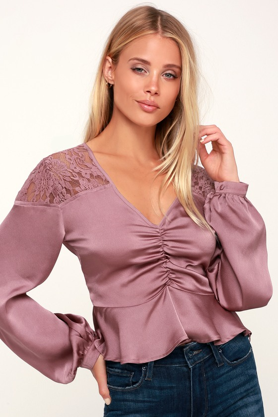 8e5879289c Lovely Lavender Long Sleeve Top - Lace Blouse - Satin Ruched Top