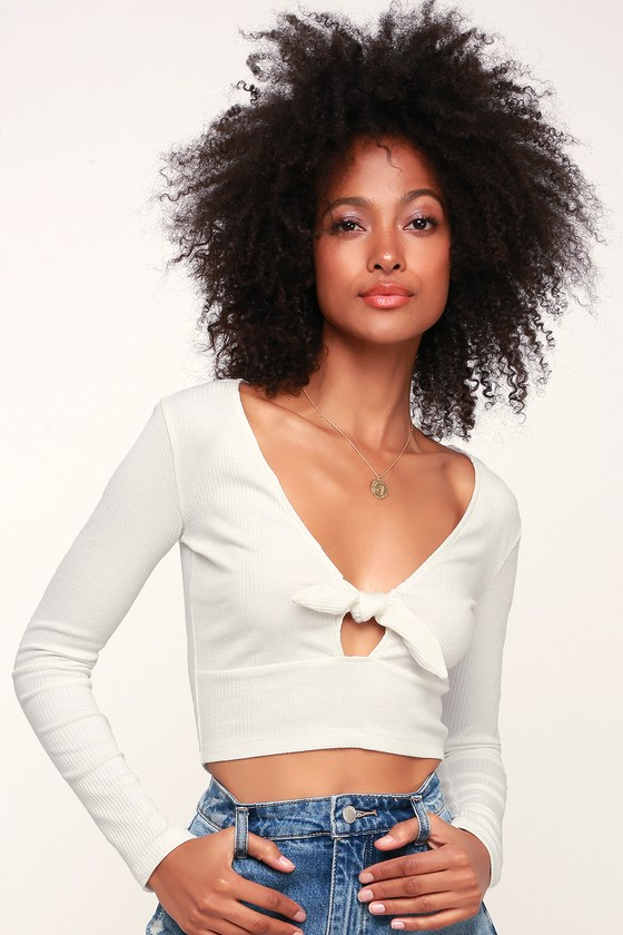 db9c10e9be790 Cute Top - White Crop Top - Long Sleeve Crop Top - Tie-Front Top