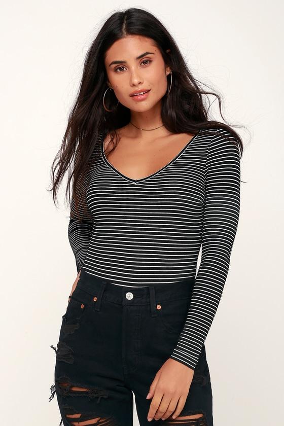 689c05fff82 Cute Bodysuit - Long Sleeve Bodysuit - Black Striped Bodysuit