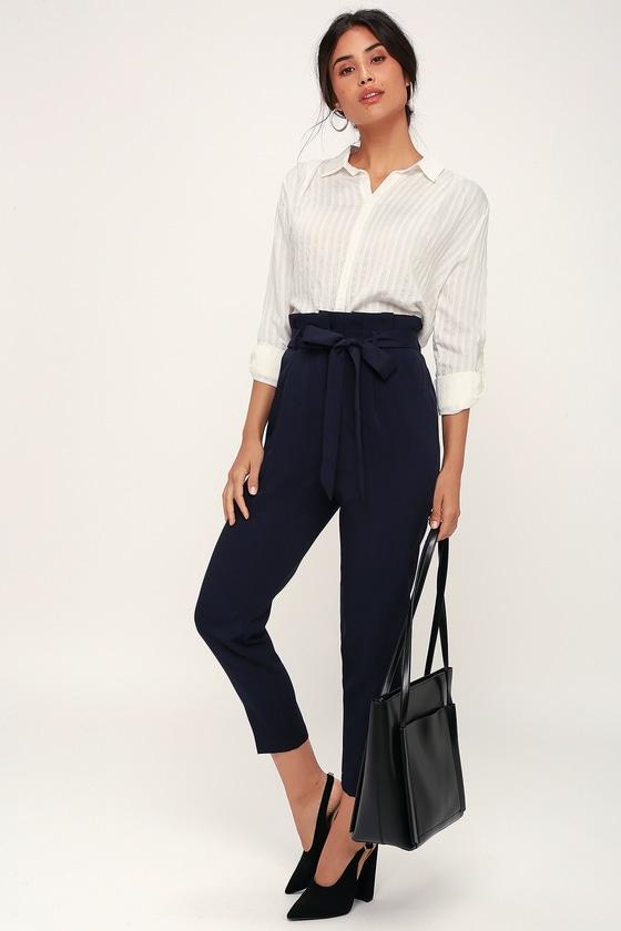 a439a6c3d Chic Navy Blue Trousers - Paperbag Waist Pants - Office Pants