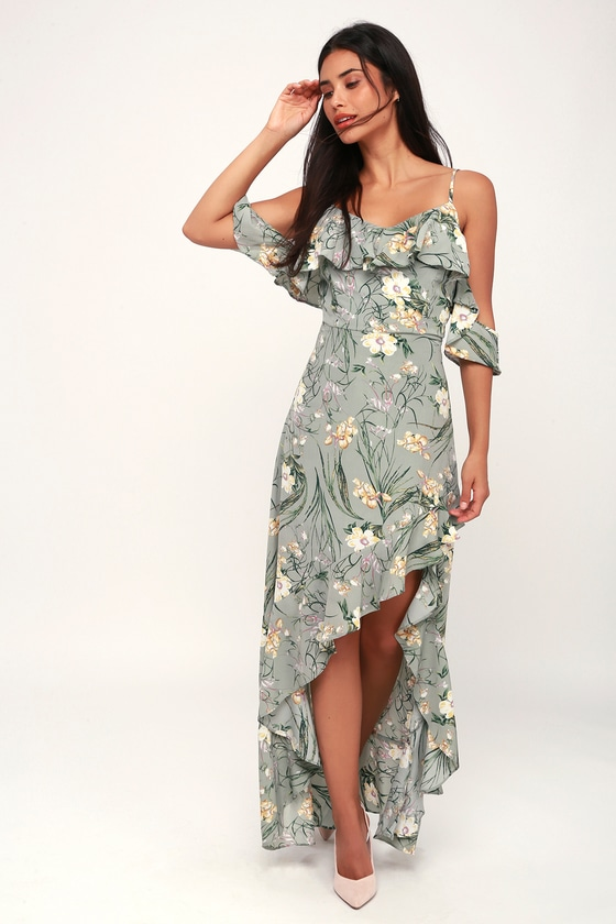 fa5d1d66c0 Lovely Sage Green Dress - Floral Print Dress - High-Low Maxi