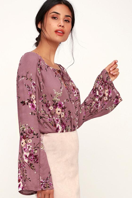 4f30cd2b76e Cute Floral Print Top - Mauve Top - Long Sleeve Top - Boho Top