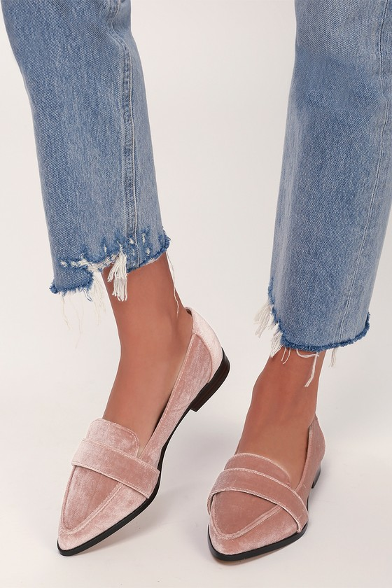 a1036919be2 Sole Society Edie - Moonlight Mauve Loafers - Velvet Loafers