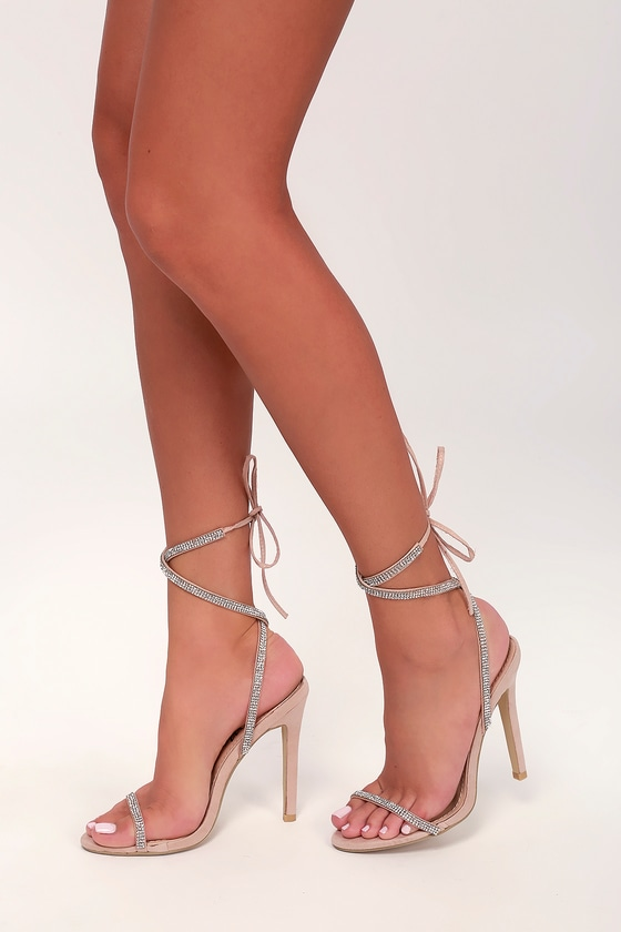 2200b71e6cb3 Sexy Nude Heels - Nude Lace-Up Heels - Nude Rhinestone Heels