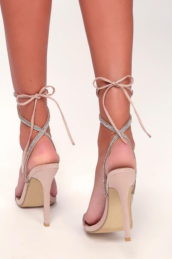 361ee3667d Sexy Nude Heels - Nude Lace-Up Heels - Nude Rhinestone Heels