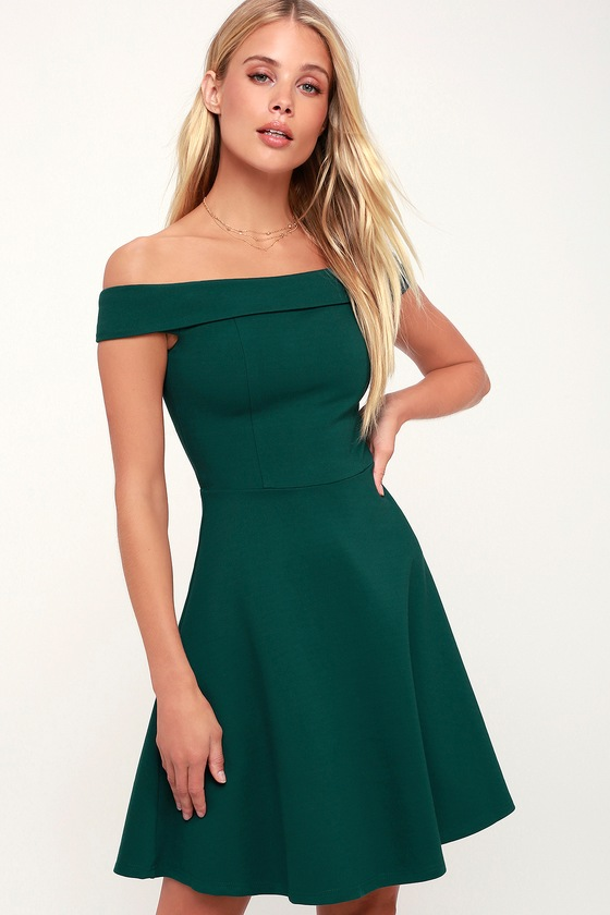 Cute Forest Green Dress - Off-the-Shoulder Dress - Skater Dress b9c208fe7