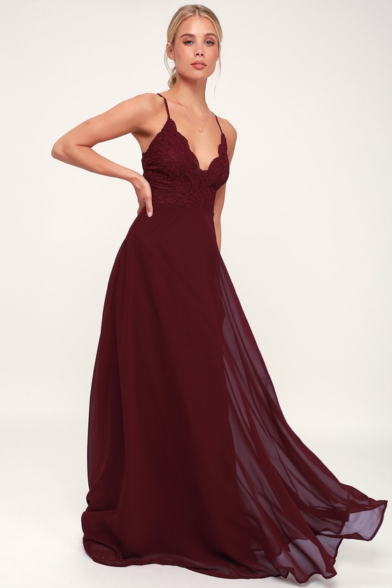 3d7bd668091d Pretty Burgundy Maxi Dress - Lace Maxi Dress - Bridesmaids Dress