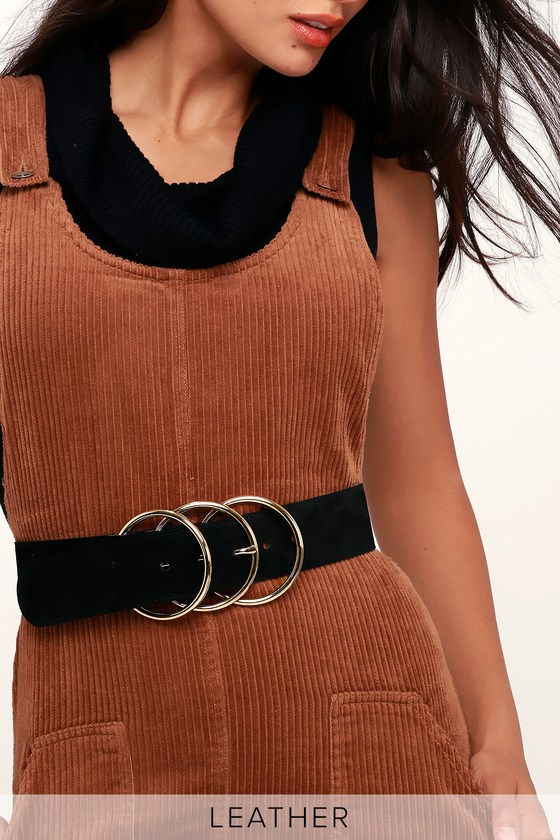 A History of Belts 1920-1960 Luxe Life Black Genuine Suede Leather Triple Buckle Belt - Lulus $49.00 AT vintagedancer.com