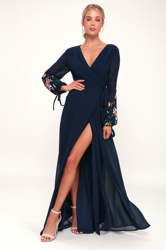 70s Prom, Formal, Evening, Party Dresses My Angel Navy Blue Embroidered Long Sleeve Wrap Maxi Dress - Lulus $78.00 AT vintagedancer.com