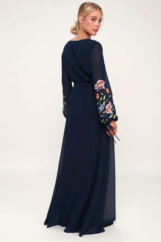 ba9ba350f5e1 Lovely Navy Blue Dress - Embroidered Dress - Wrap Maxi Dress