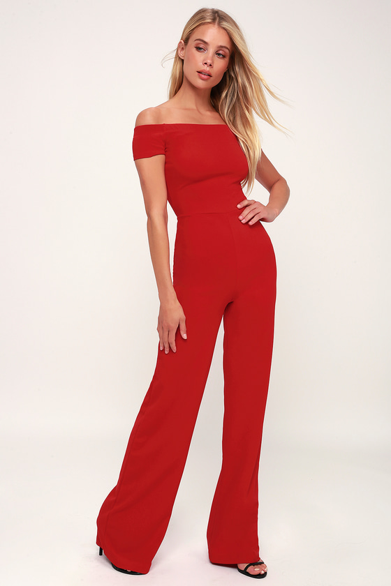 6f22e6b830a Sexy Red Off-the-Shoulder Jumpsuit - Wide-Leg Jumpsuit