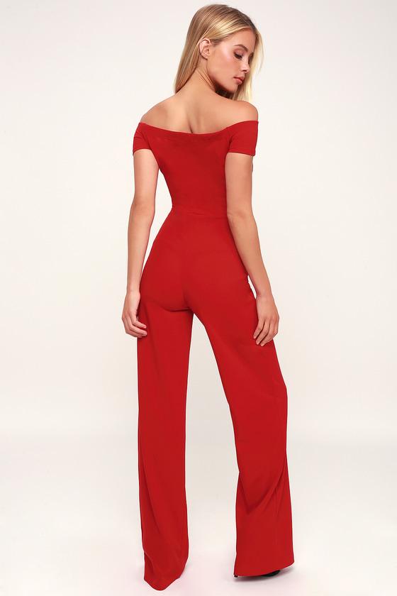 10b93d99fae2 Sexy Red Off-the-Shoulder Jumpsuit - Wide-Leg Jumpsuit