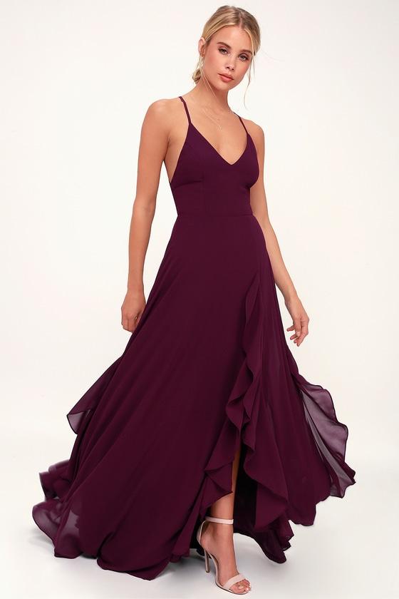 9c7afbc633fb Stunning Purple Maxi Dress - Lace-Up Back Maxi Dress - Maxi Dress