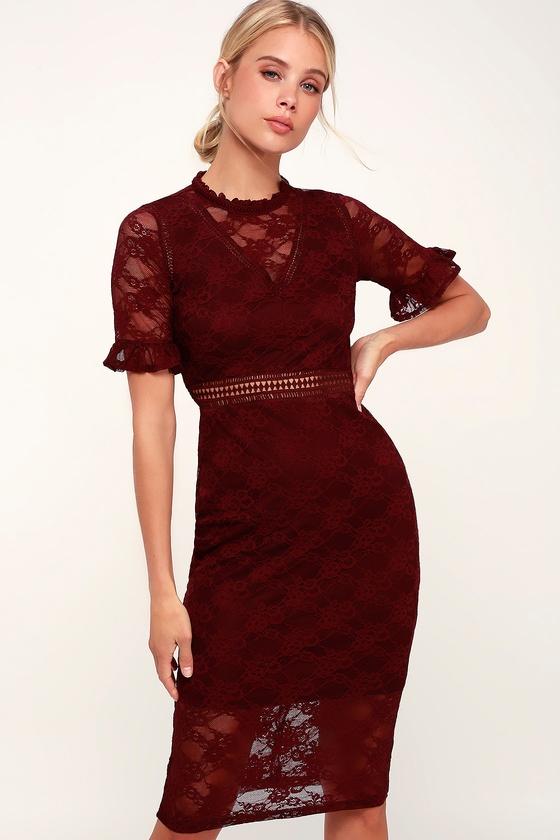dfb030575cd6 LOST INK Jamilla - Burgundy Lace Dress - Lace Midi Dress