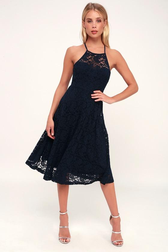 ff1ea441893 Lovely Navy Blue Dress - Lace Dress - Midi Dress - Strappy Dress