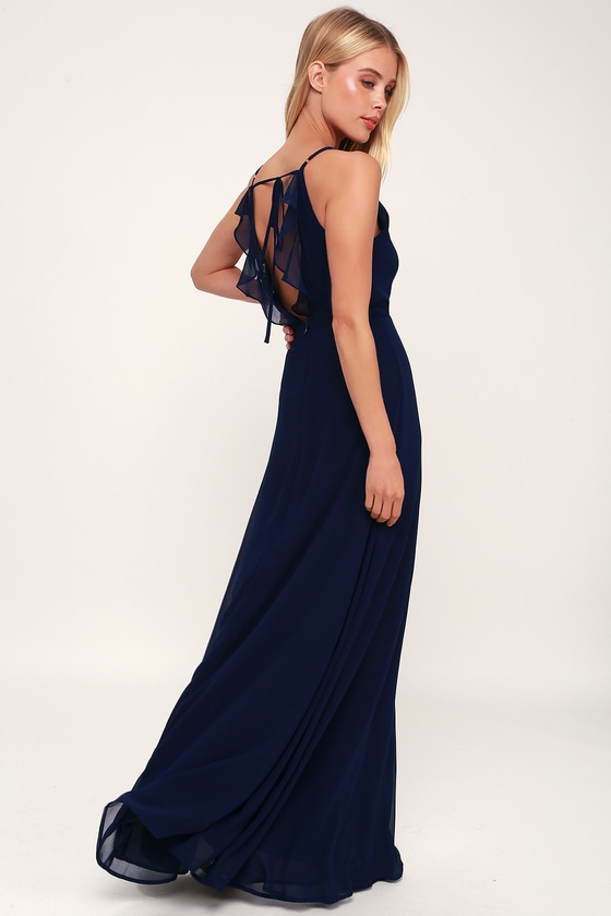 You've Got the Love Navy Blue Backless Maxi Dress