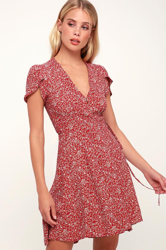 58145d44b496 Rolla's Dancer Wrap Dress - Red Floral Print Dress - Mini Dress