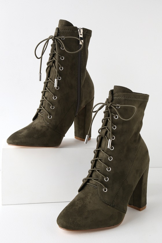 Retro Boots, Granny Boots, 70s Boots Soraka Olive Suede Lace-Up Mid-Calf Booties - Lulus $48.00 AT vintagedancer.com
