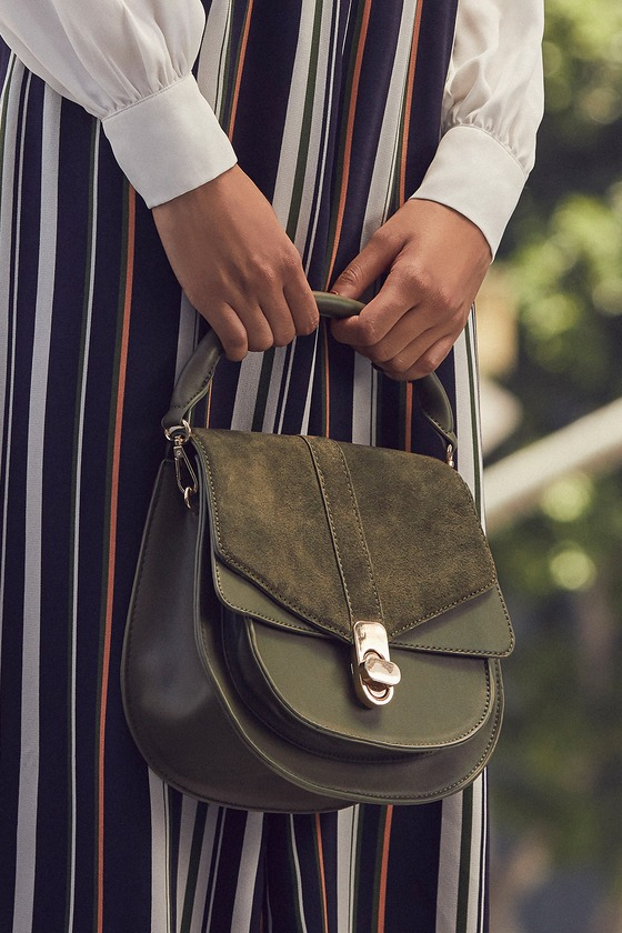 Dayana Olive Green Suede Leather Purse - Lulus