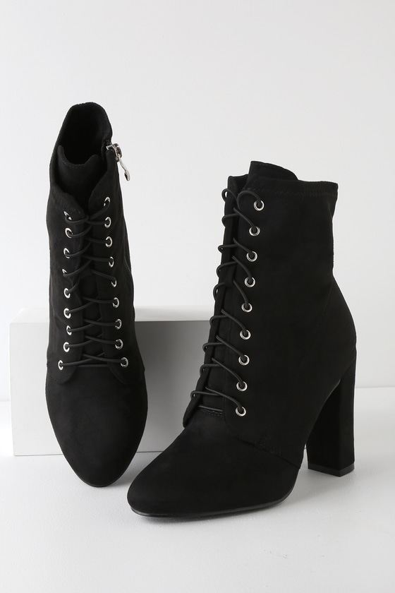 Mid Heel Lace Up Boots