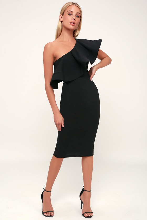 8e0dc3630f3 Chic Black Dress - One-Shoulder Dress - Bodycon Dress - Cute Midi