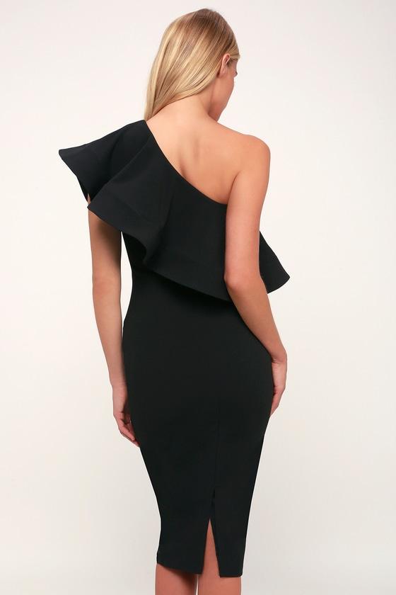ea83b14cf03 Chic Black Dress - One-Shoulder Dress - Bodycon Dress - Cute Midi