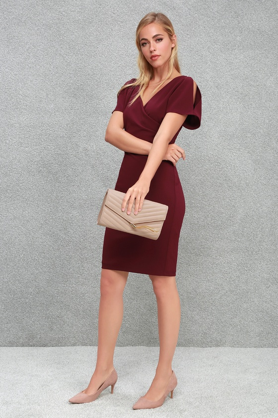 Raquel Burgundy Cold Shoulder Surplice Dress