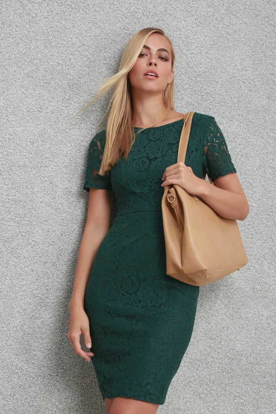 6e0cd0beec Chic Dark Green Dress - Green Lace Dress - Green Sheath Dress