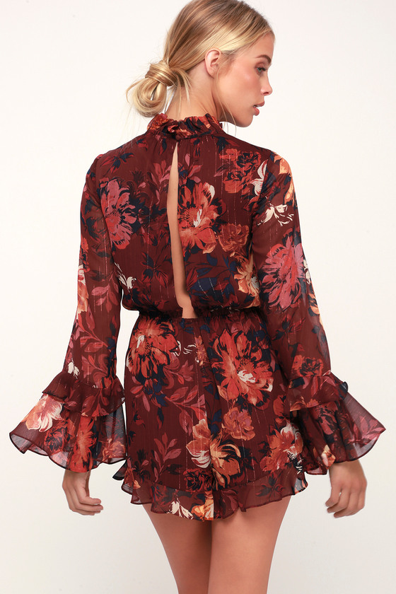 dddac608a82 Ali   Jay Getting All Your Love - Wine Red Romper - Floral Romper