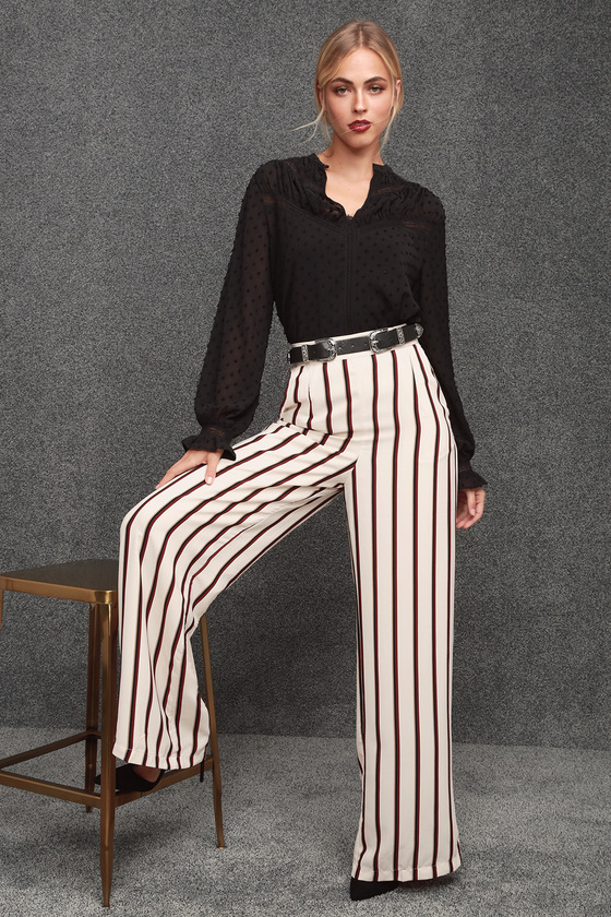 Kinsley Beige Striped Wide Leg Pants