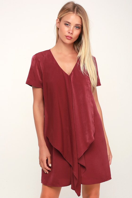 Dear Friend Wine Satin Red Drape Front Shift Dress - Lulus