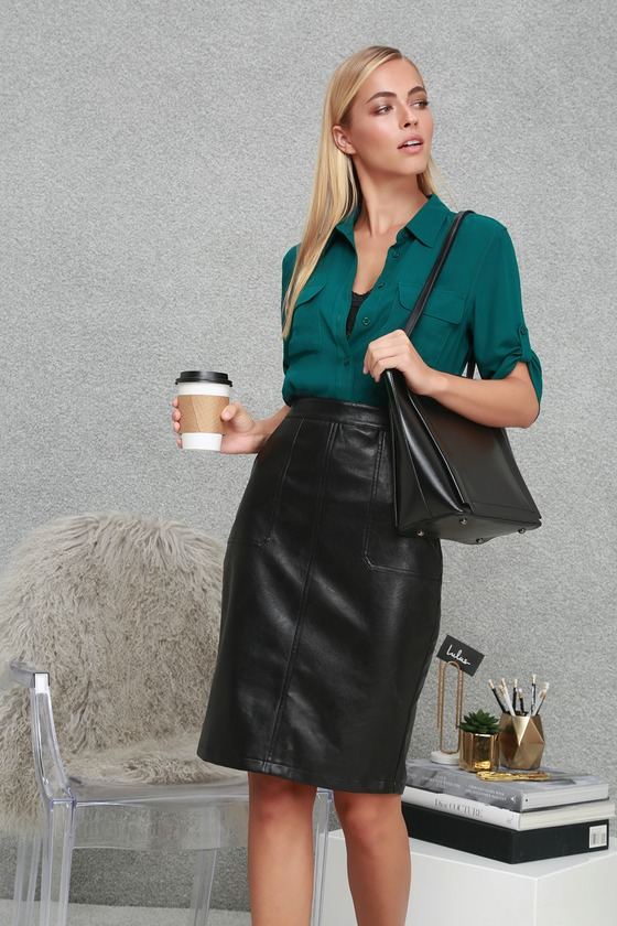 92b0e2cb6c Chic Black Vegan Leather Skirt - Black Vegan Leather Pencil Skirt