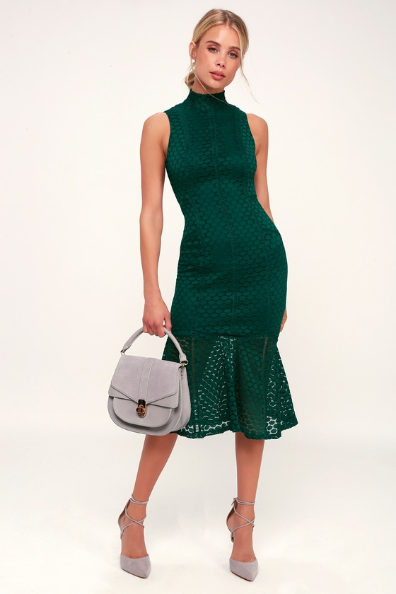 d45ef7cb6888 Ali & Jay All the Way Up - Forest Green Lace Dress - Midi Dress