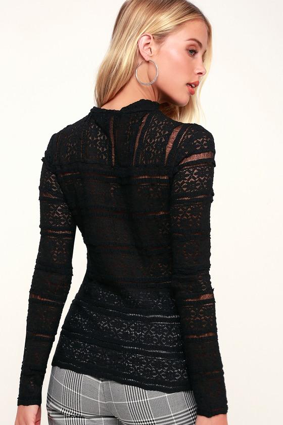 a6eeba456084 Sheer Black Top - Lace Top - Long Sleeve Top - Mock Neck Top