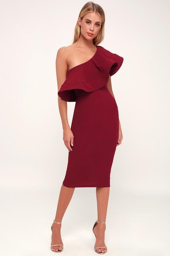 7502480b13aa Burgundy Dress - One-Shoulder Dress - Bodycon Dress - Cute Midi