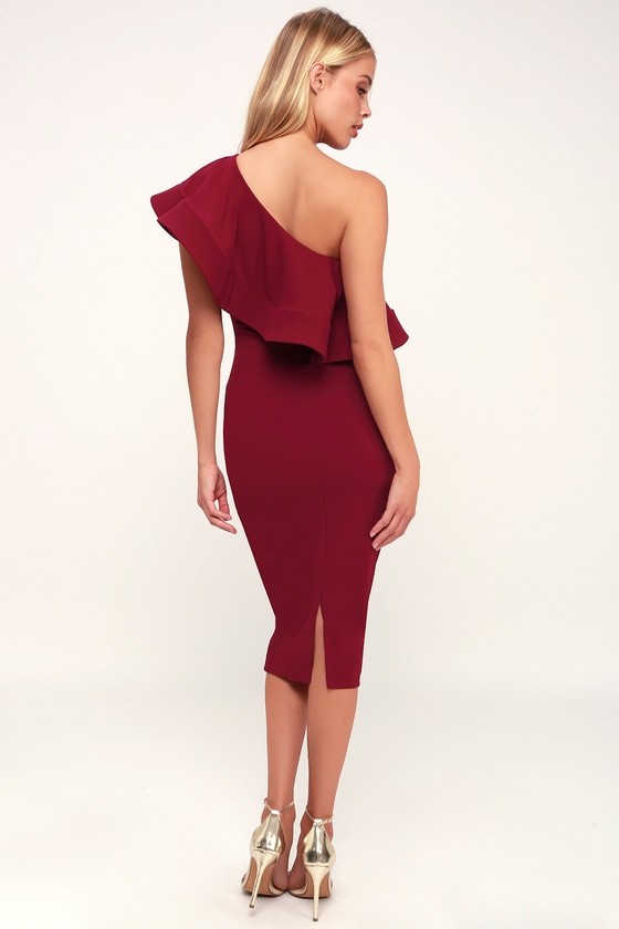 e6b7b827a56bc Burgundy Dress - One-Shoulder Dress - Bodycon Dress - Cute Midi